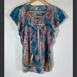 Live and Let Live Boho Style Top Small